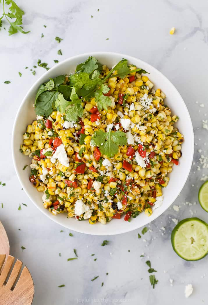 bowl filled with grilled corn salad