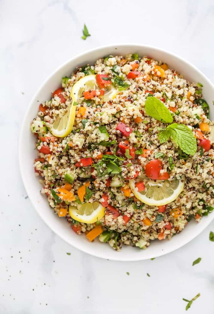 20 minute quinoa tabbouleh salad in a bowl