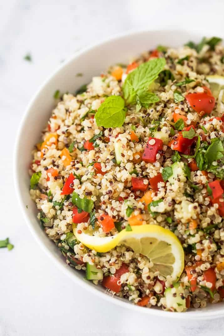 close up photo of 20 minute quinoa tabbouleh salad in a bowl