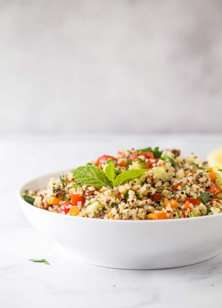 side photo of 20 minute quinoa tabbouleh salad in bowl