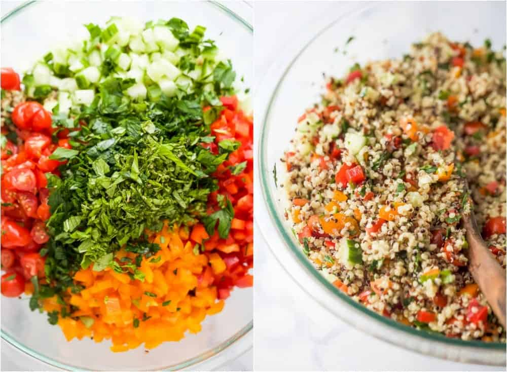 process photos of how to make 20 minute quinoa tabbouleh salad