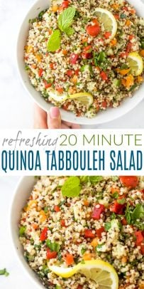 pinterest image for 20 minute quinoa tabbouleh salad