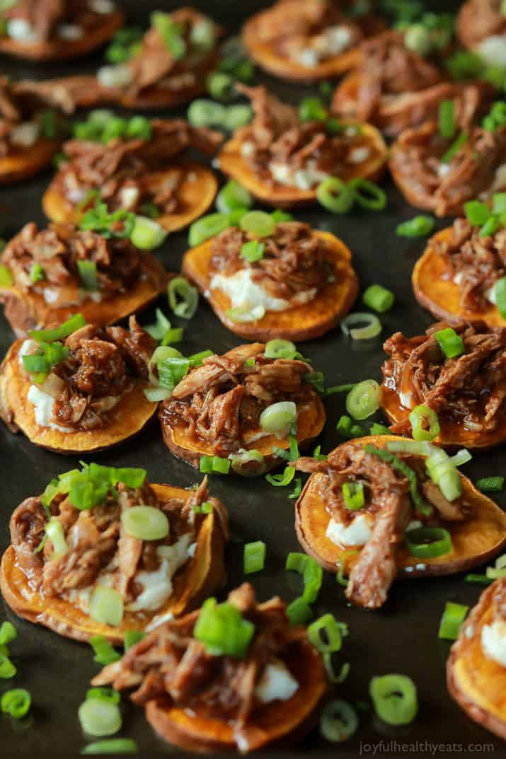 BBQ Pulled Pork Sweet Potato Bites on a sheet pan
