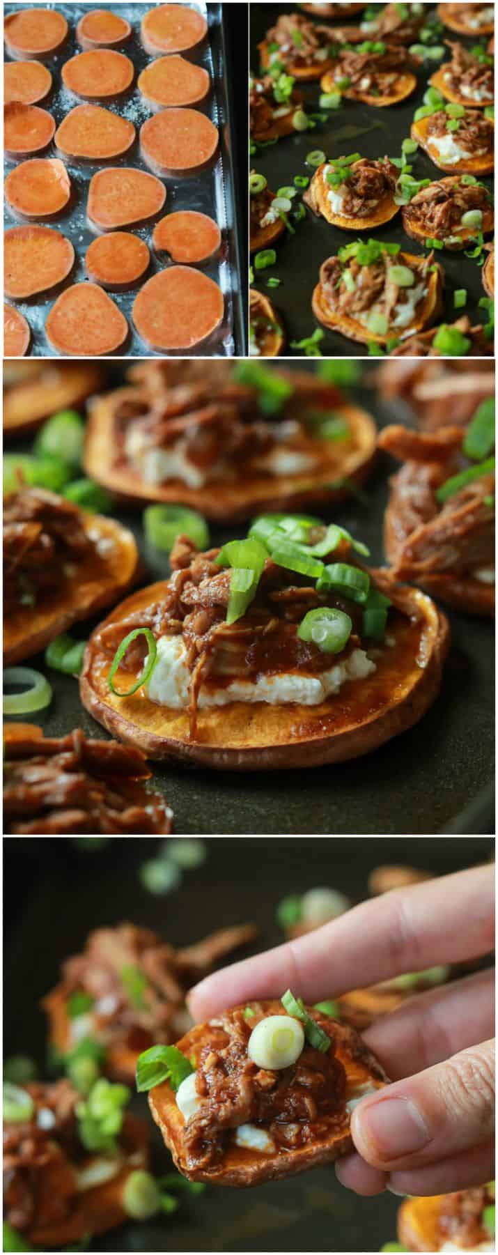BBQ Pulled Pork Sweet Potato Bites are sure to be a family favorite. Topped with creamy whipped goat cheese and moist BBQ Pulled Pork with a few secret ingredients - you'll be addicted after one! | joyfulhealthyeats.com #appetizer #gameday #recipes