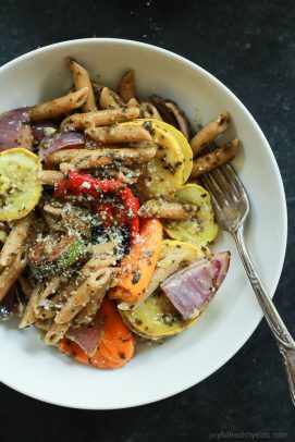 Image of Basil Pesto Pasta with Roasted Vegetables