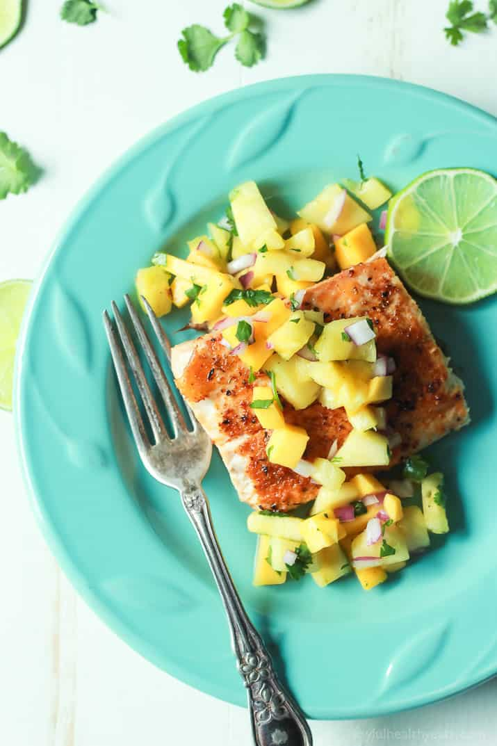 Pan Seared Cajun Mahi Mahi with a fresh Mango Pineapple Salsa on a plate