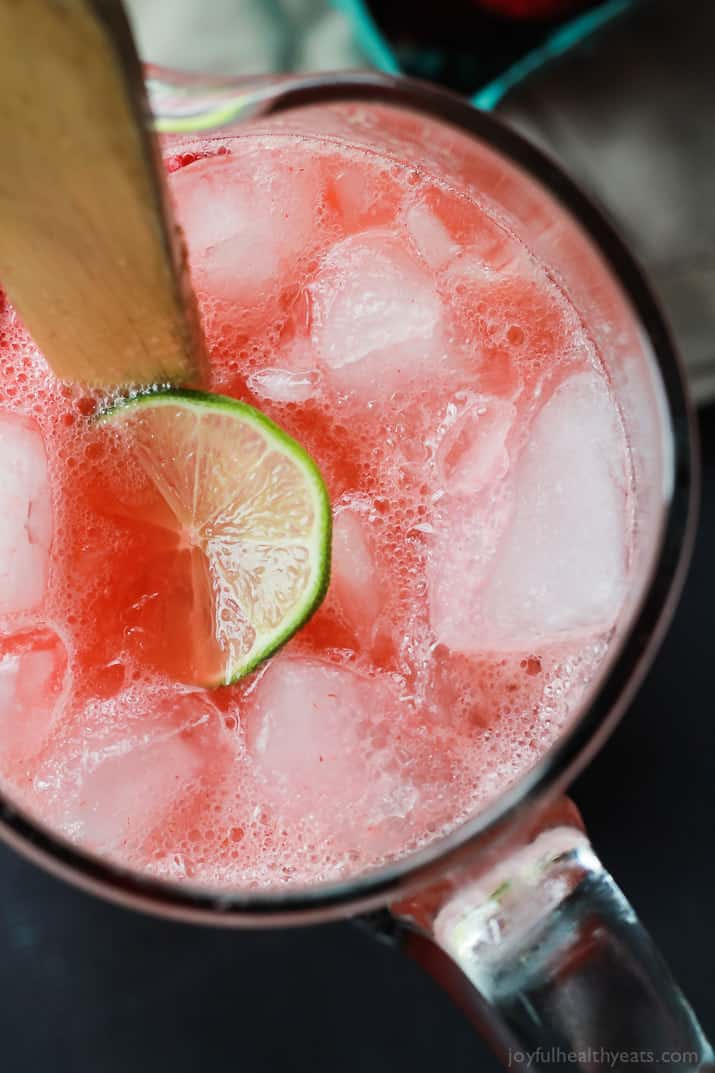 Top view of a pitcher of Fresh Strawberry Limeade