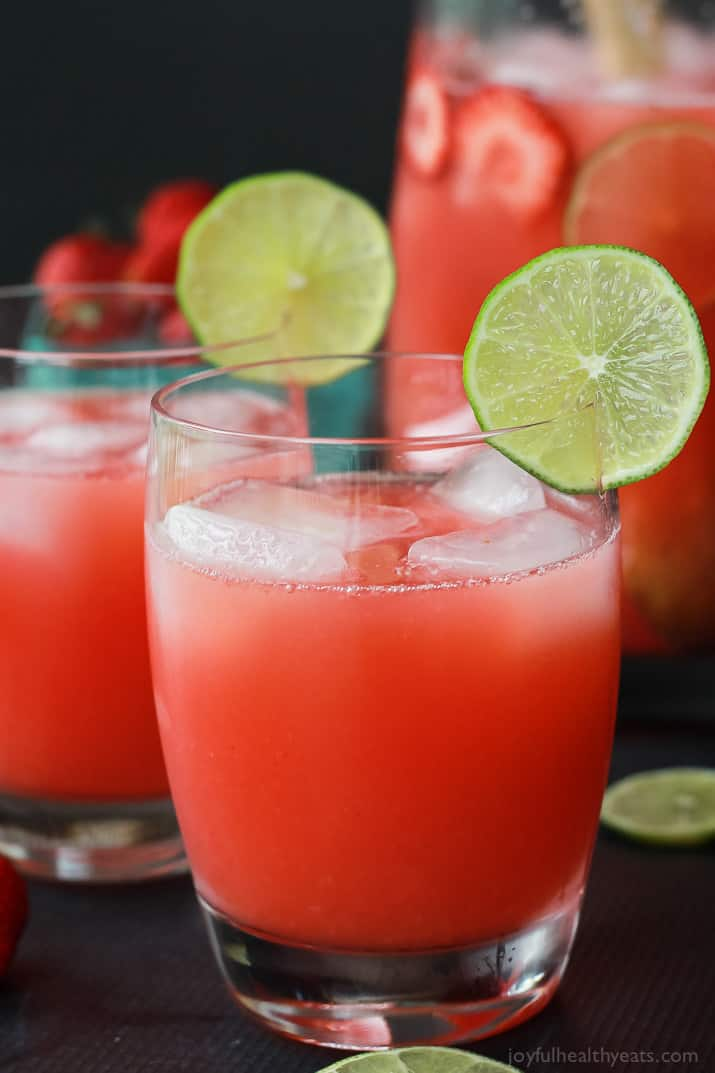 Close-up of two glasses of Fresh Strawberry Limeade