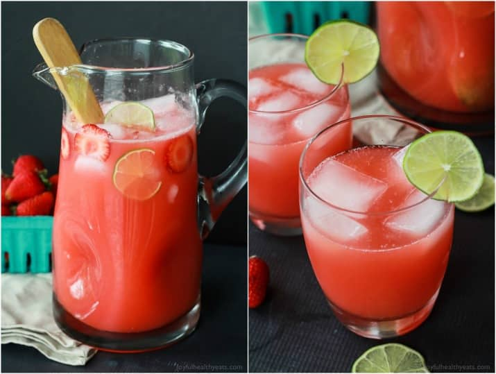 Collage of a pitcher and two glasses of Fresh Strawberry Limeade