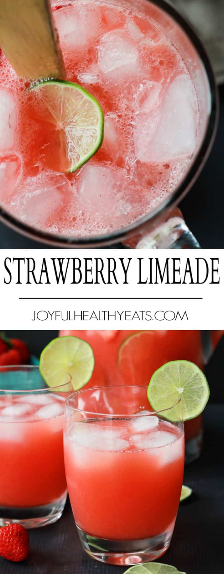 Fresh Strawberry Limeade packed with loads of fresh limes and strawberries then blended to perfection! Sweet, limey, and just what you need to cool you down this summer! | joyfulhealthyeats.com #healthy #lowcalorie