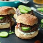 Image of Grilled Lamb Burgers with Feta & Cucumbers