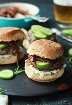 Grilled Lamb Burgers with Whipped Feta and Cucumber