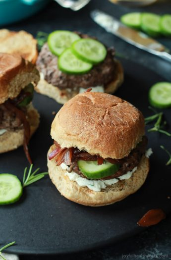 Grilled Lamb Burgers will be the star of all burger recipes this summer, topped with whipped feta cheese, cucumber, and balsamic caramelized onions. Filled with flavor and made in 30 minutes! | joyfulhealthyeats.com Easy Dinner Recipes