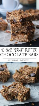 A collage of No Bake Peanut Butter Chocolate Bars