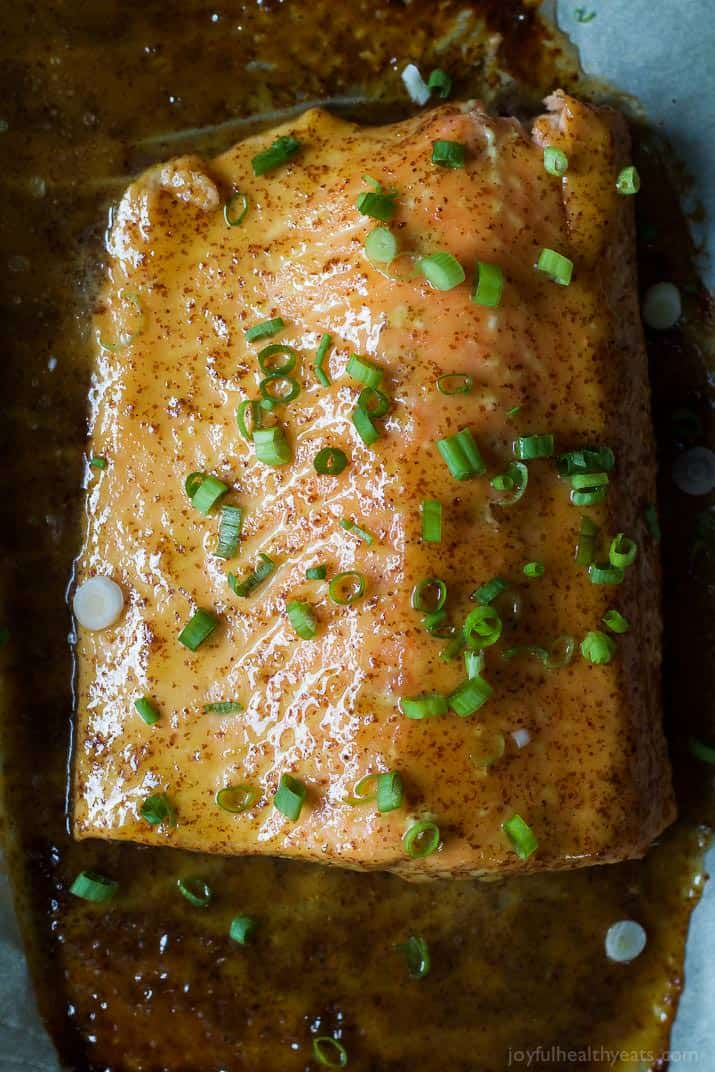 Dijon Maple Glazed Salmon is one of my favorite quick healthy dinner recipes, full of tangy sweet flavor from only 3 ingredients with a whooping 218 calories per serving! | joyfulhealthyeats.com #glutenfree #recipes