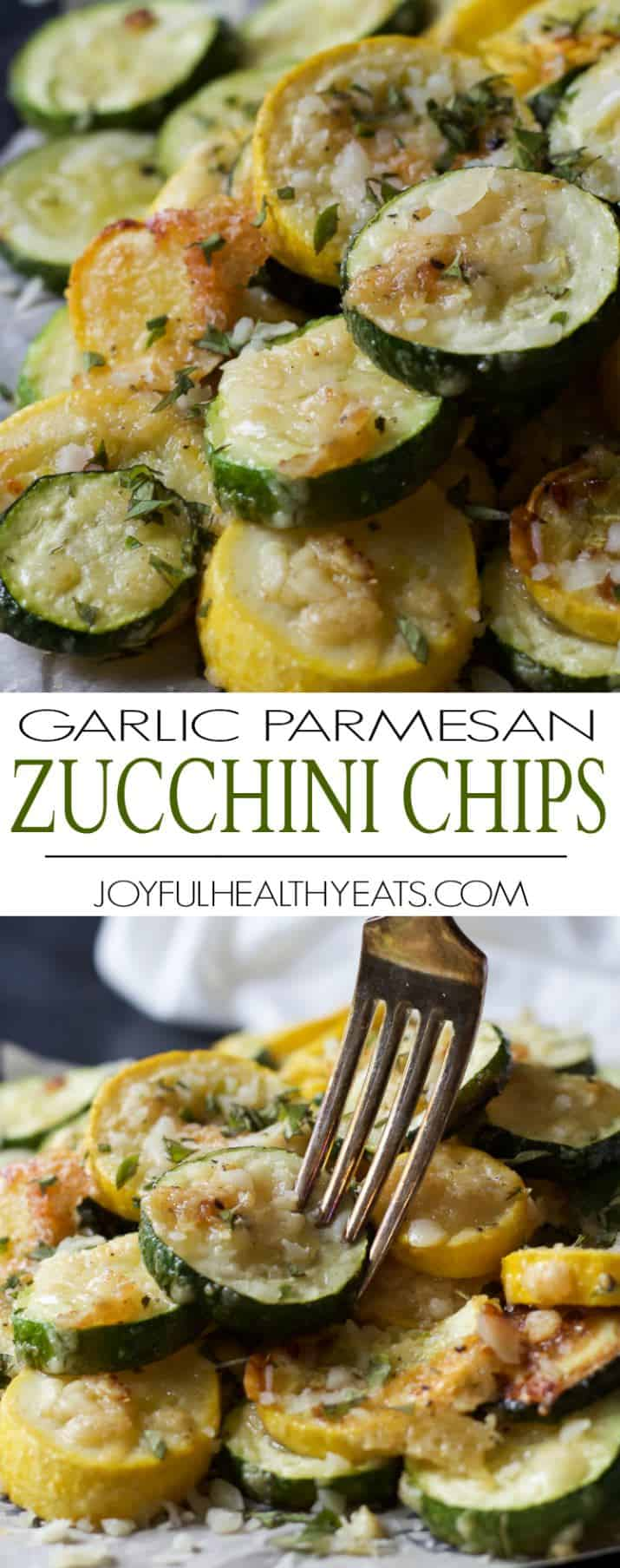 Recipe collage for Parmesan Garlic Zucchini Chips
