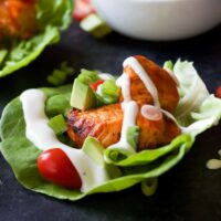 Get game day ready with these healthier low calorie Grilled Buffalo Chicken Lettuce Wraps! All the same great flavor with half the calories! These are delicious!| joyfulhealthyeats.com #recipes Easy Healthy Recipes
