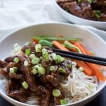 Honey Sriracha Mongolian Beef with Rice Noodles