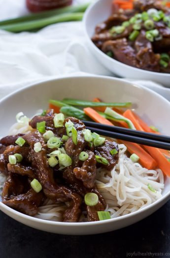 Image of Honey Sriracha Mongolian Beef with Rice Noodles