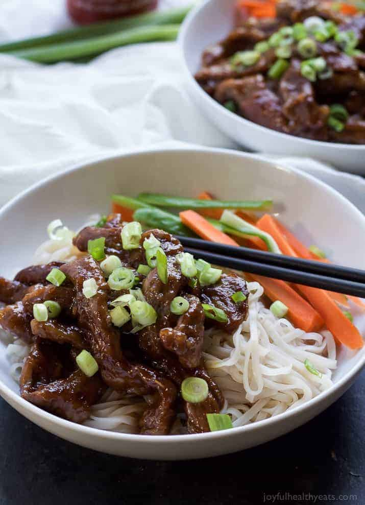 Honey sriracha mongolian beef with rice noodles mongolian beef recipe forget the take out make this healthy low calorie 30 minute honey sriracha mongolian beef forumfinder Choice Image