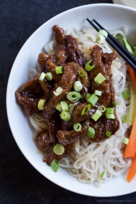 Honey Sriracha Mongolian Beef with Rice Noodles-4
