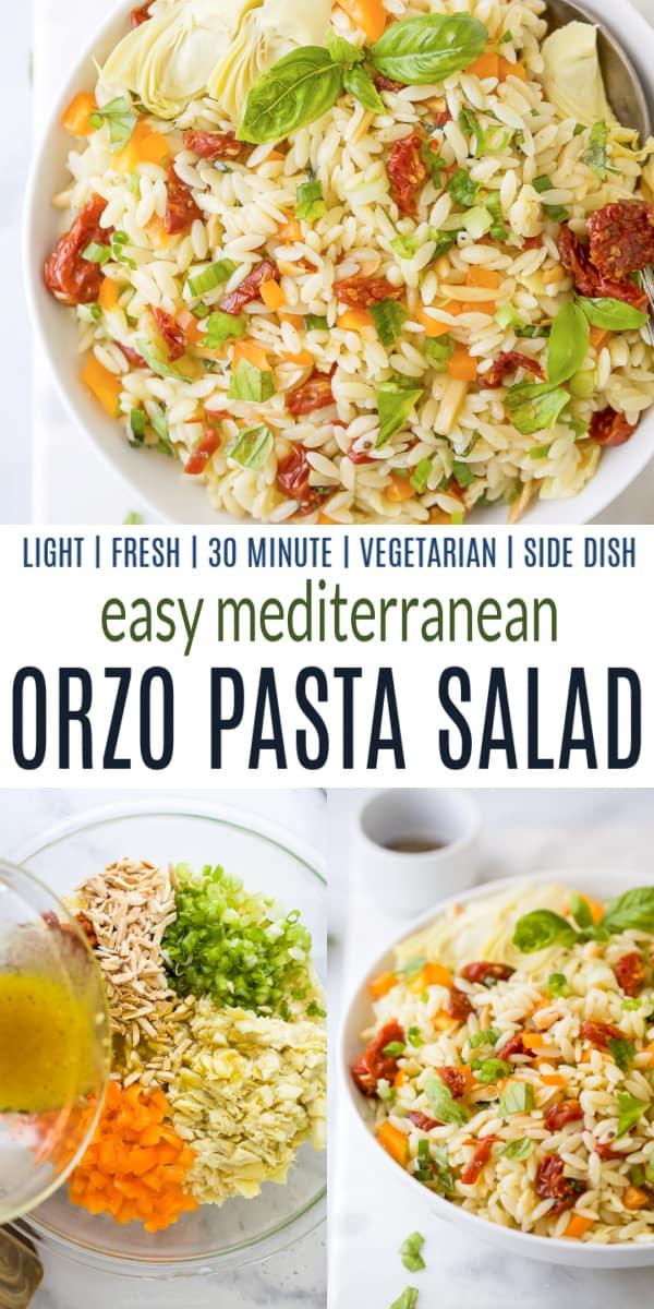 pinterest collage for Light & Easy Mediterranean Orzo Pasta Salad