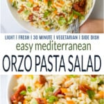 pinterest collage for mediterranean orzo pasta salad