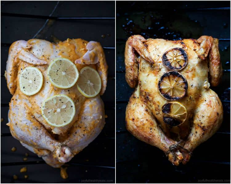 Forget the Rotisserie Chicken! You will fall in love with the crispy skin and smoky lemon garlic butter of this Oven Roasted Chicken Recipe, an easy, gluten free, paleo weeknight meal the family will love! | joyfulhealthyeats.com
