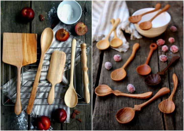 A collection of wooden spoons and utensils