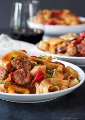 Image of Tomato Pappardelle Pasta with Italian Sausage and Peppers