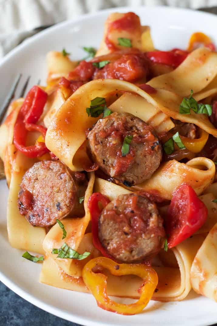 Tomato Pappardelle Pasta with Italian Sausage and Peppers, a delicious ...