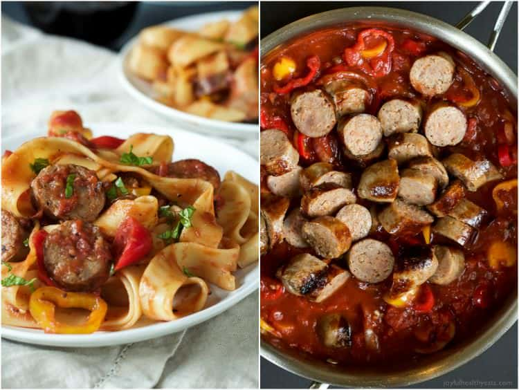 Two Pictures of Tomato Pappardelle Pasta with Italian Sausage and Peppers