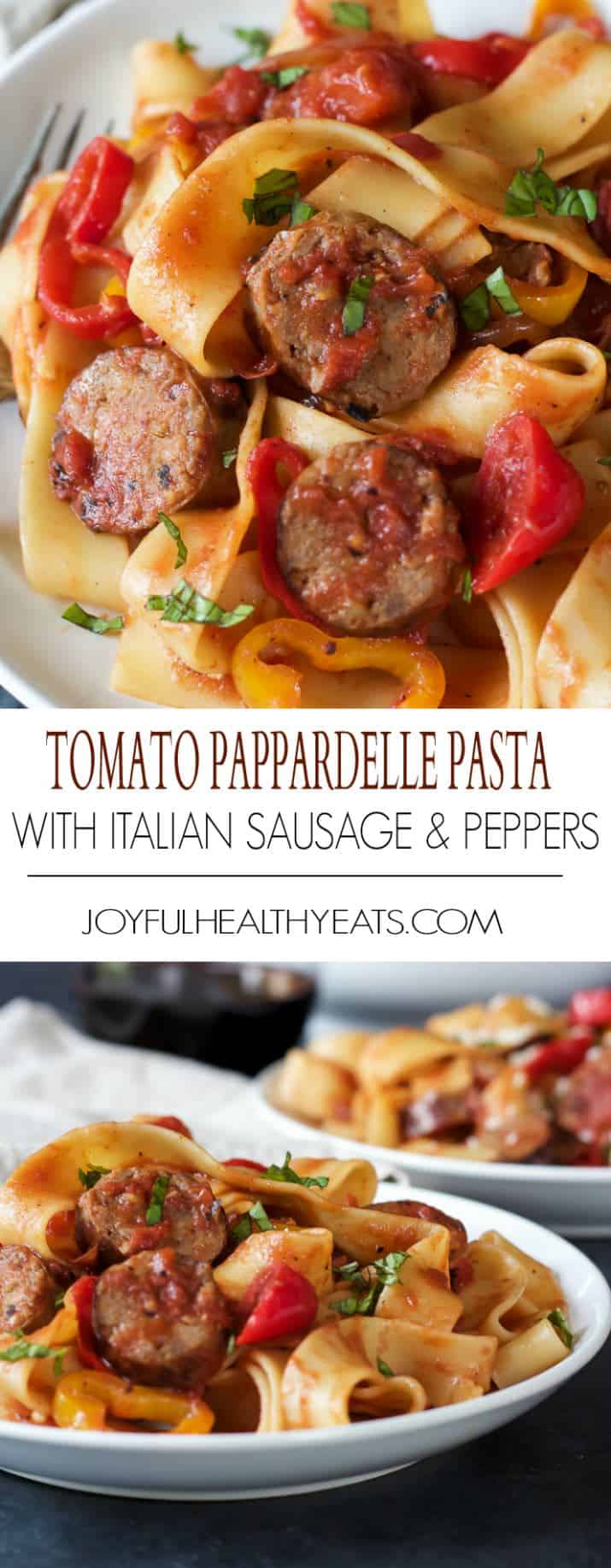 Title Image for Tomato Pappardelle Pasta with Italian Sausage and Peppers