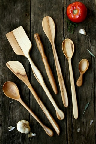 A variety of wooden kitchen utensils