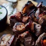Bacon Wrapped Tenderloin Bites with Creamy Horseradish Sauce