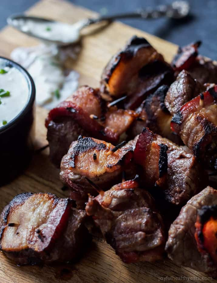 Bacon Wrapped Tenderloin Bites chargrilled and served with a homemade creamy horseradish sauce