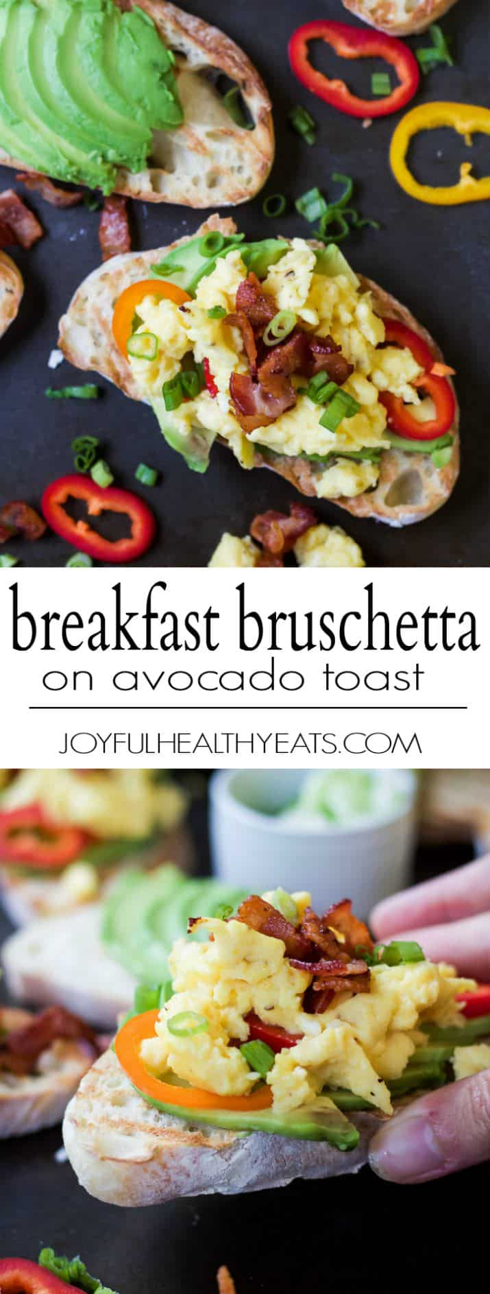 Collage of images of Breakfast Bruschetta on Avocado text with recipe title text