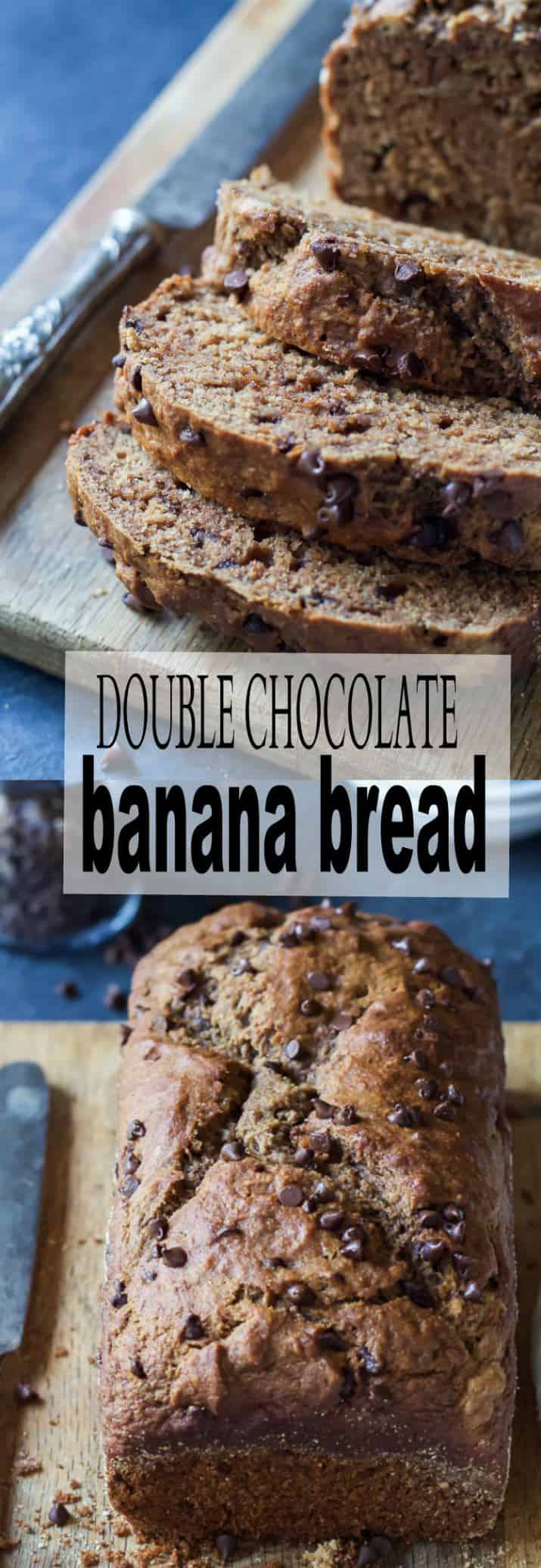 Who doesn't like Banana Bread? What about Double Chocolate Banana Bread? This recipe is incredibly moist, filled with chocolate flavor and only 196 calories a slice. Make it! | joyfulhealthyeats.com #recipes