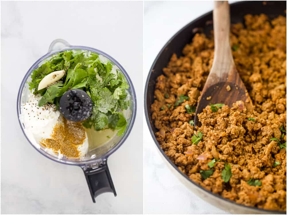 ground turkey taco meat with cilantro lime crema in a food processor