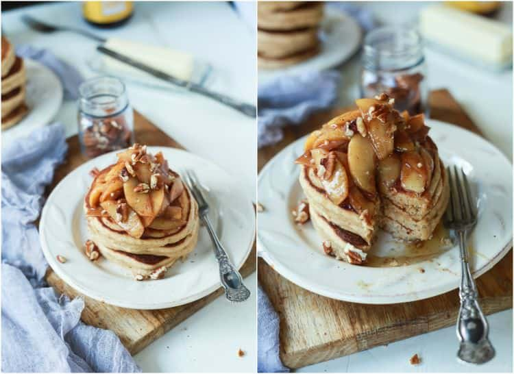 Collage of two views of Fluffy Whole Wheat Pancakes topped with Cinnamon Apple Compote