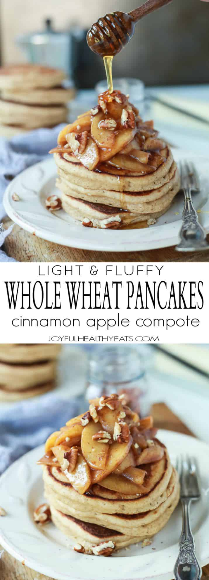 Recipe collage for Light & Fluffy Whole Wheat Pancakes with Cinnamon Apple compote