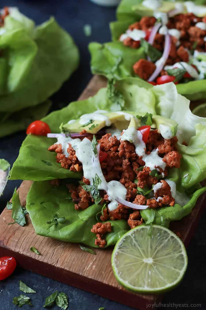 Ground Turkey Tacos in Lettuce Wraps with Cilantro Lime Crema