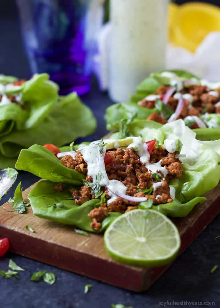 Ground Turkey Tacos in Lettuce Wraps topped with a fresh Cilantro Lime Crema - a great healthy weeknight meal option that's full of flavor and gluten free! | joyfulhealthyeats.com Easy Healthy Recipes