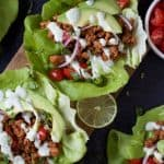 Image of Lettuce Wrapped Ground Turkey Tacos with Cilantro Lime Crema