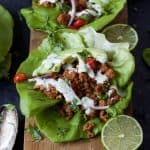 Ground Turkey Tacos in Lettuce Wraps with Cilantro Lime Crema-6