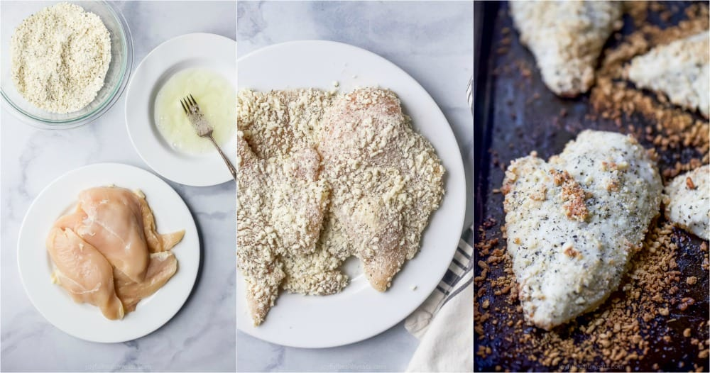 process photos of how to make baked chicken parmesan