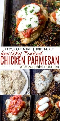 pinterst image for baked chicken parmesan with zucchini noodles