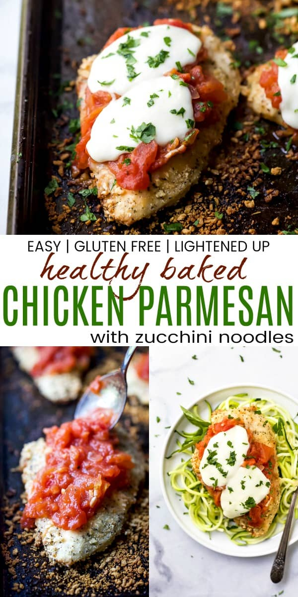 pinterest image for baked chicken parmesan with zucchini noodles