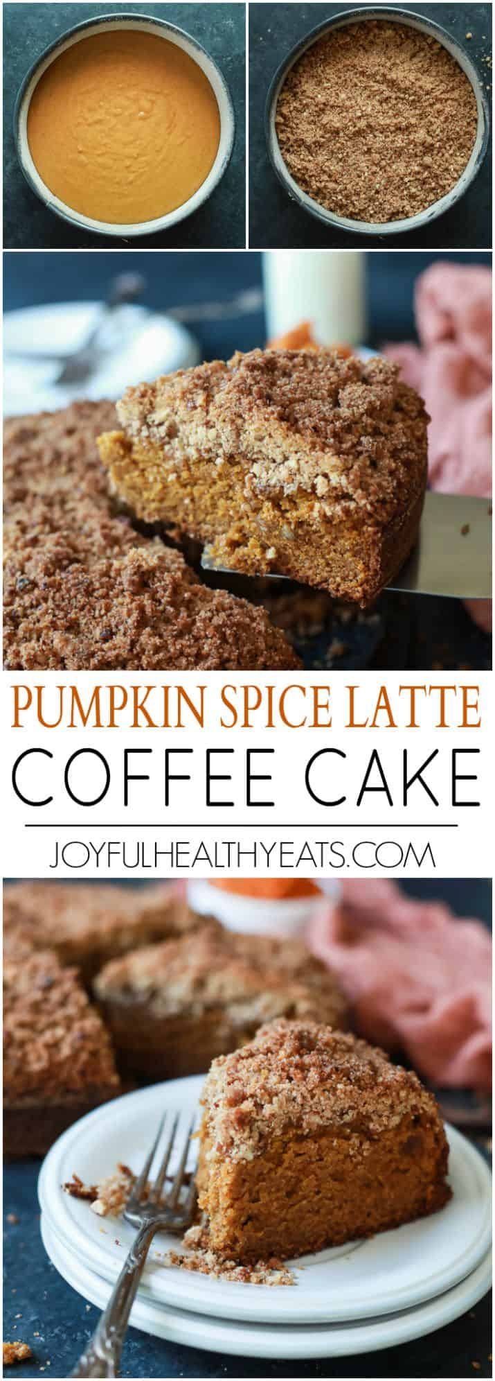 A family recipe that you need in your arsenal this fall! Pumpkin Spice Latte Coffee Cake, moist, loaded with pumpkin spice flavor with a touch of espresso for the best bite. Starbucks has nothing on this cake!   joyfulhealthyeats.com #recipe #fall