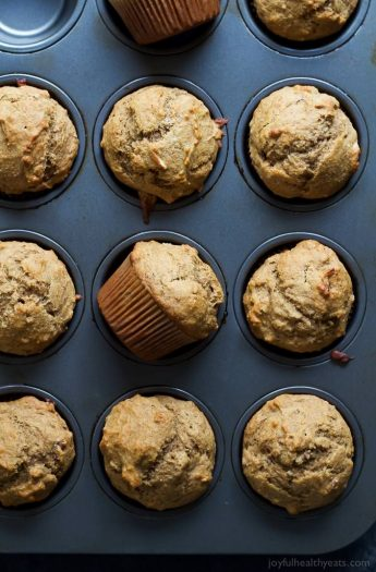 Skinny Banana Nut Muffins, everyone needs a classic muffin recipe and this is it! Moist, delicious, sweetened with honey, and only 205 calories - the perfect on-the-go breakfast! | joyfulhealthyeats.com #recipes Easy Healthy Recipes